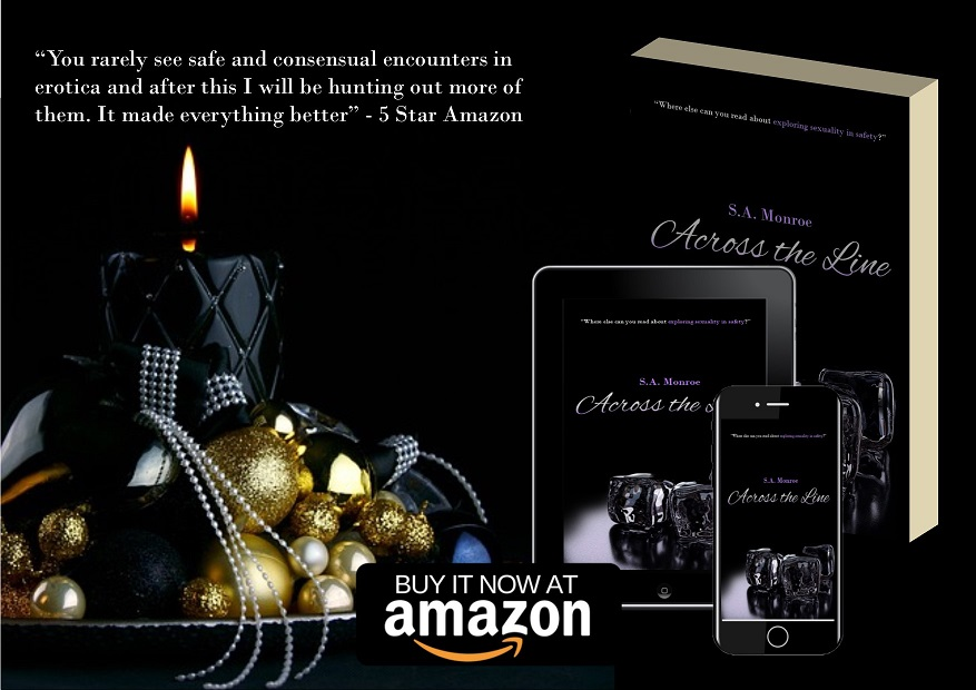 Christmas promotion photo of the Across the line, romance novel about body positivity and consensual relationships.